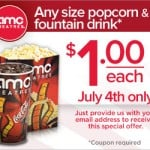 $1 Dollar Drinks and Popcorn at AMC Theaters July 4th