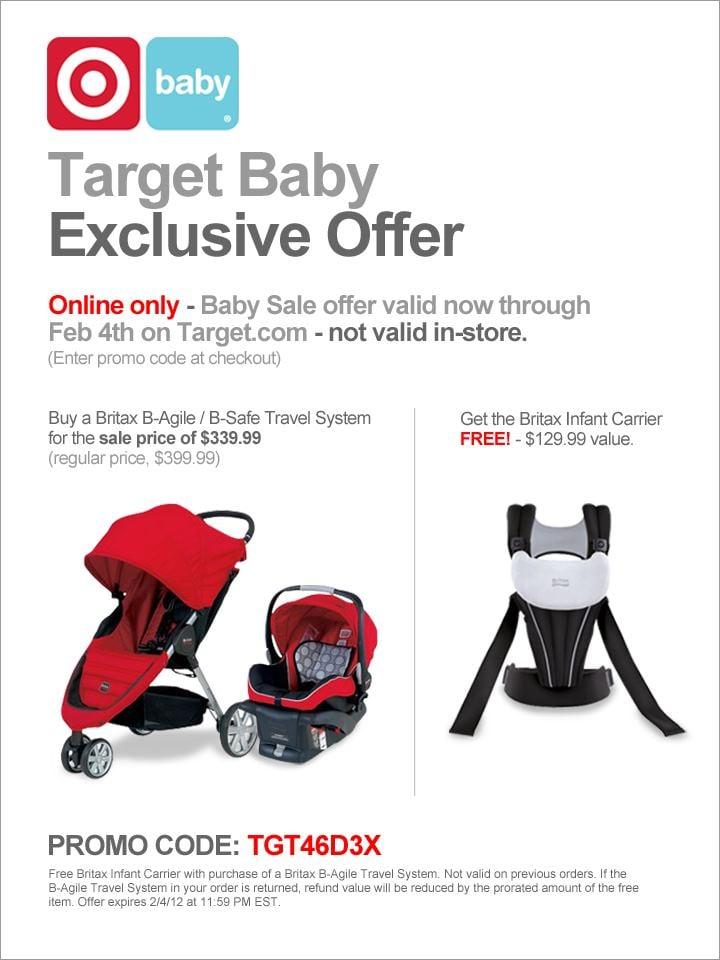 Britax B-Agile Stroller, B-Safe Car Seat & Infant Carrier for $325 ...
