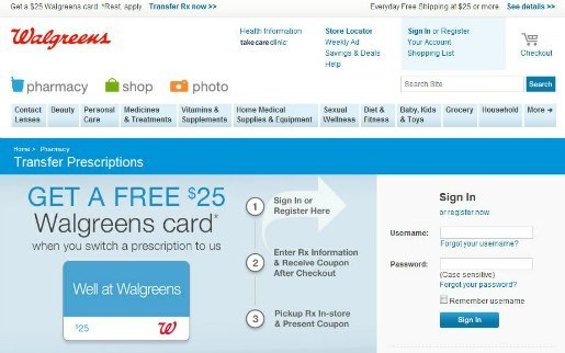 Walgreens $25 Gift Card Transfer Coupon