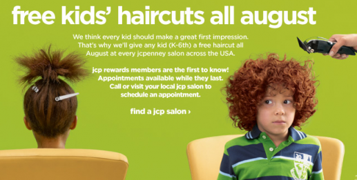 JCPenny Free Kids Haircuts