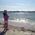 Little Girl Fishing Beach