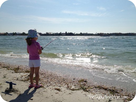 Little Girl Fishing Beach