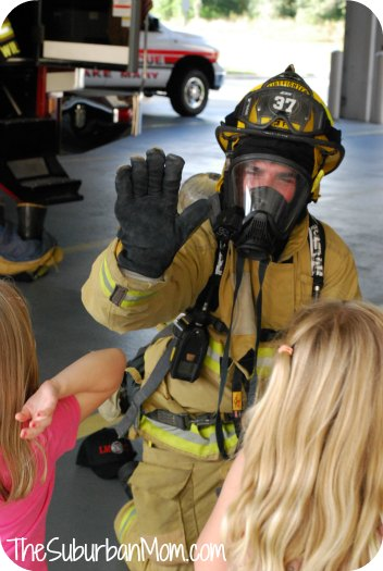 Friendly Firefighter high five