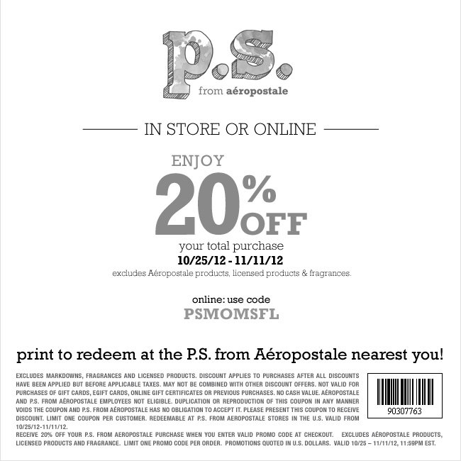 PS Aeropostal Printable Coupon Code