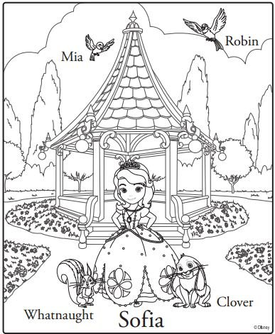 sofia the first coloring page clover whatnaught mia - Princess Tea Party Coloring Pages