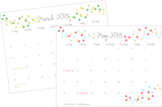 Free 2013 Printable Calendar The Twinery Blog