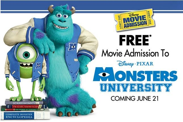 Free Movie Ticket Monsters University Disney Pixar