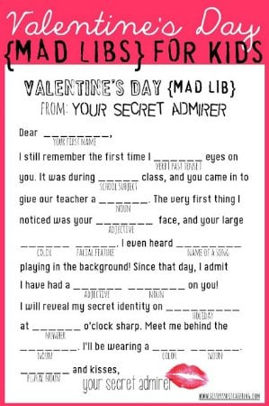 Valentine's Day Free Printable Mad Libs