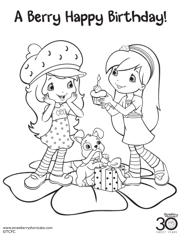 strawberry shortcake coloring page birthday - Strawberry Shortcake Coloring Pages