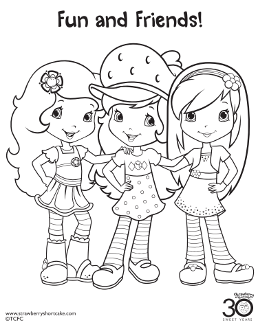 strawberry shortcake coloring page friends - Strawberry Shortcake Coloring Pages