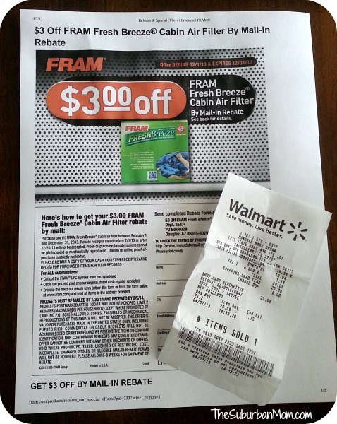 Fram Fresh Breeze Air Filter Rebate Coupon