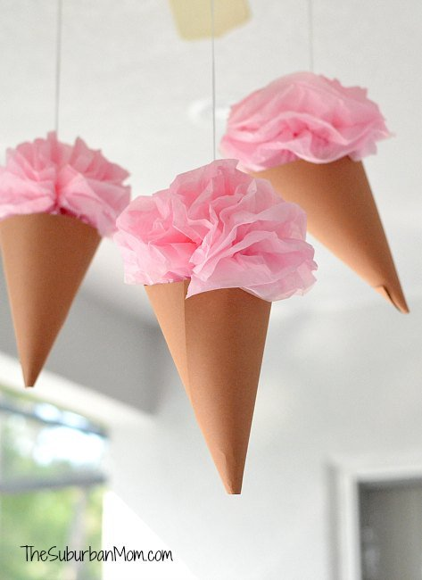 Paper Ice Cream Cone Party Decorations Handmade DIY