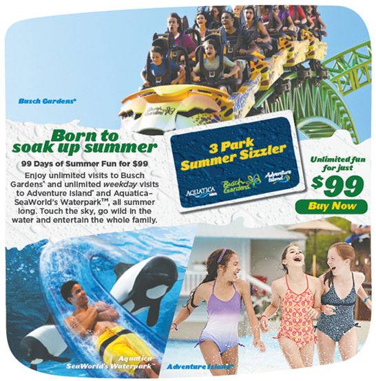Florida Resident Busch Gardens Adventure Island and Aquatica