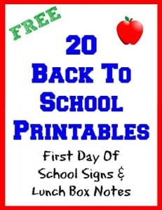 20 Back To School Printables First Day of School Signs Lunch Box Notes