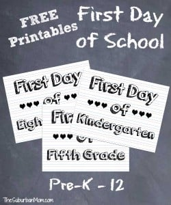 Free First Day of School Printable Signs