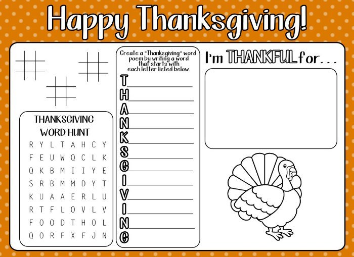 12 Free Printable Thanksgiving Kids Activity Placemats And