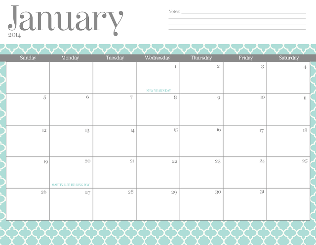 2014 Calendar Monthly Free Printable