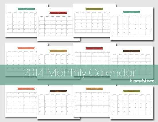 2014 Monthly Calendar Printable Free
