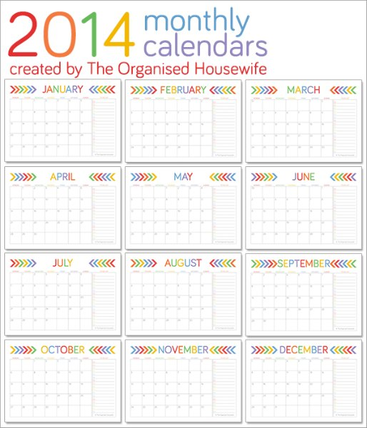 2014 Monthly Calendars Free Printable