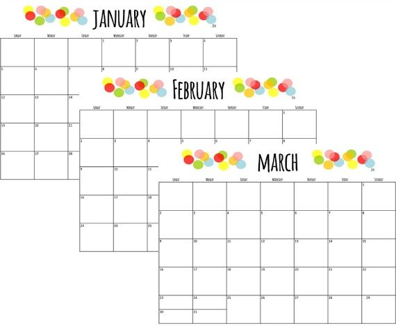 Free Printable 2014 Calendar Color Dots