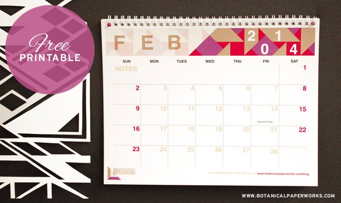 Free Printable Monthly Calendar 2014