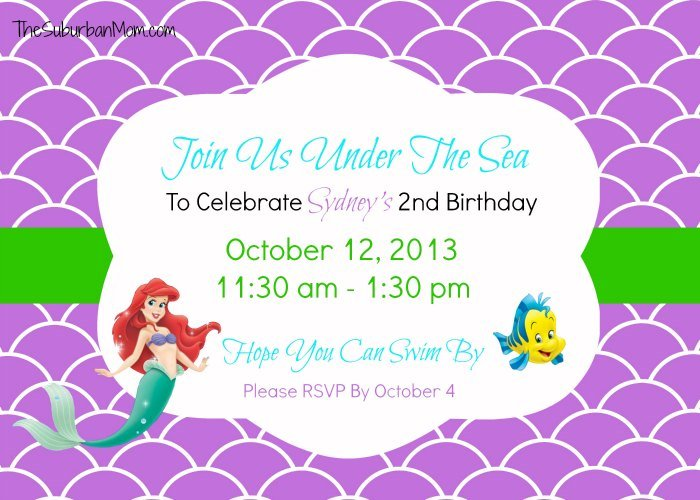 The little mermaid ariel birthday party ideas food crafts more little memaid ariel birthday invitation filmwisefo
