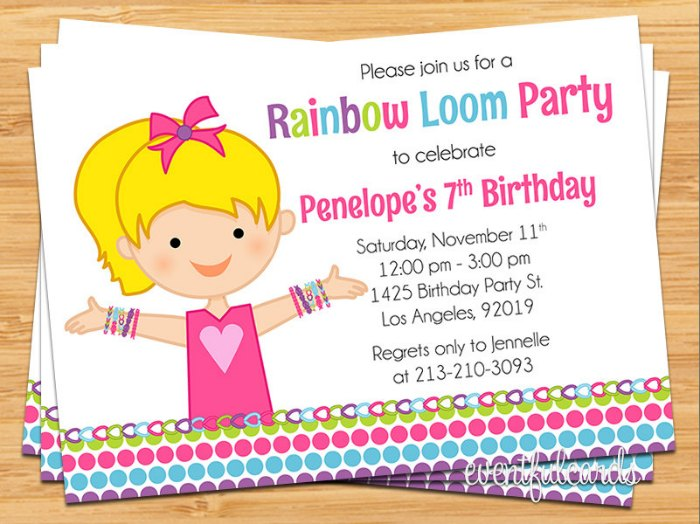 Rainbow Loom Birthday Party Invitation
