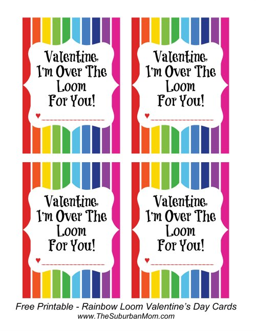Rainbow Loom Free Printable Valentine's Day Cards