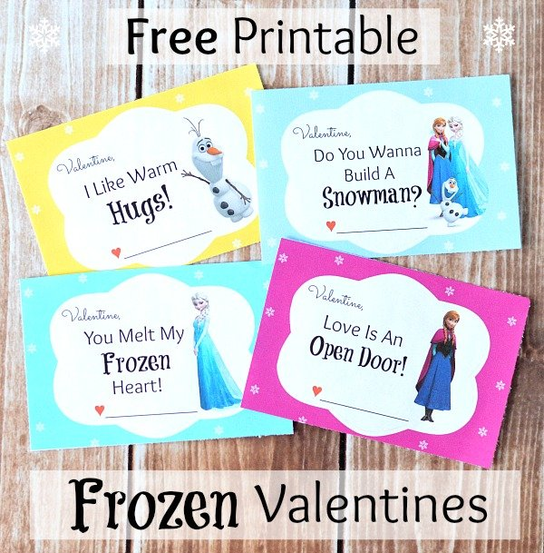 Free Printable Disney Frozen Valentines Cards