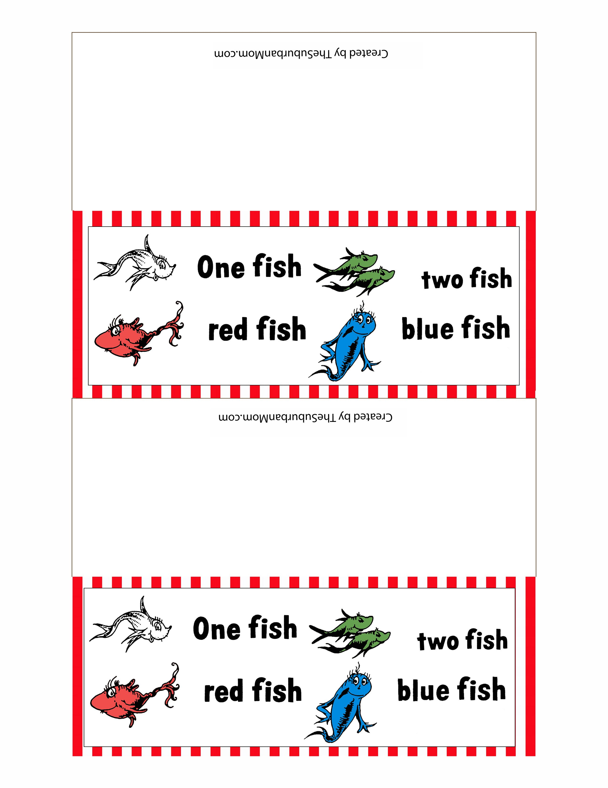 Dr seuss one fish two fish red fish blue fish printables for One fish two fish