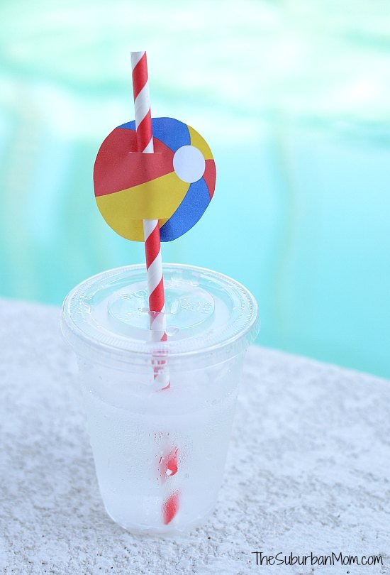 Beach Ball Drink Toppers Free Printable