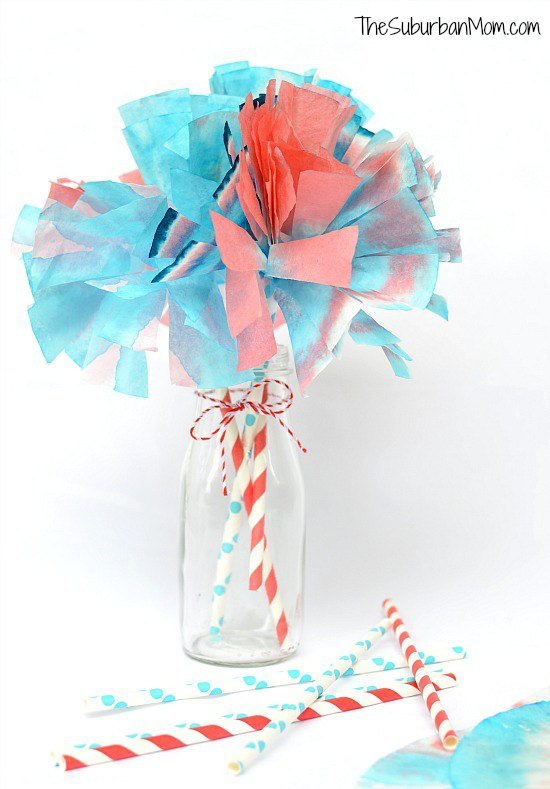 Coffee Filter Pom Pom 4th of July Craft