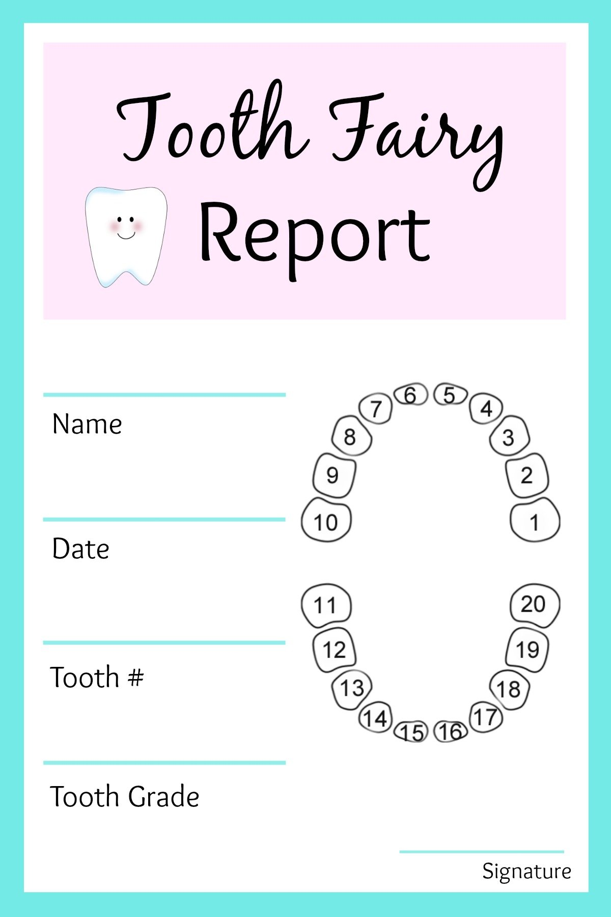 Printable Tooth Fairy Note Paper