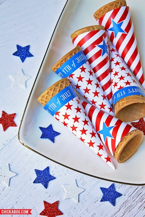 4th of July Ice Cream Cone Wrappers Free Printable