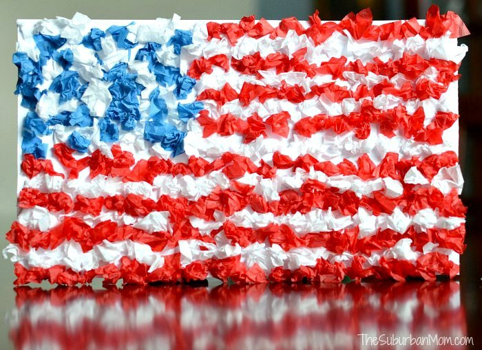 Kids Craft 4th of July Upcycled Flag Craft