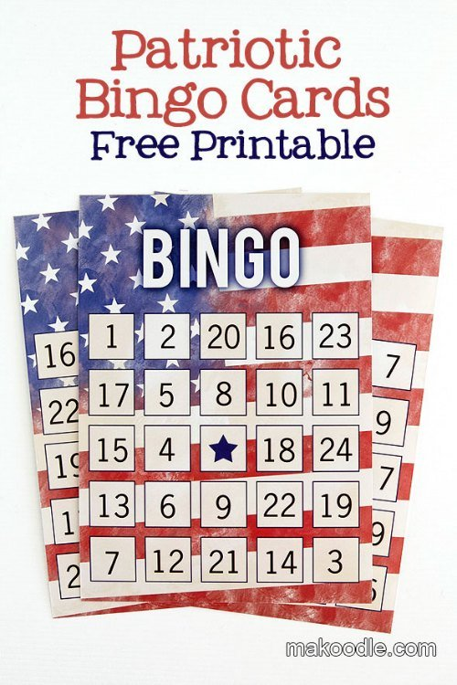 Patriotic Free Printable Bingo Cards