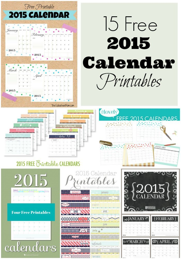 15 Free 2015 Calendar Printables