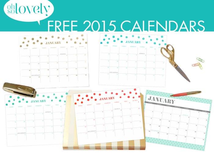 2015 Calendars Printable
