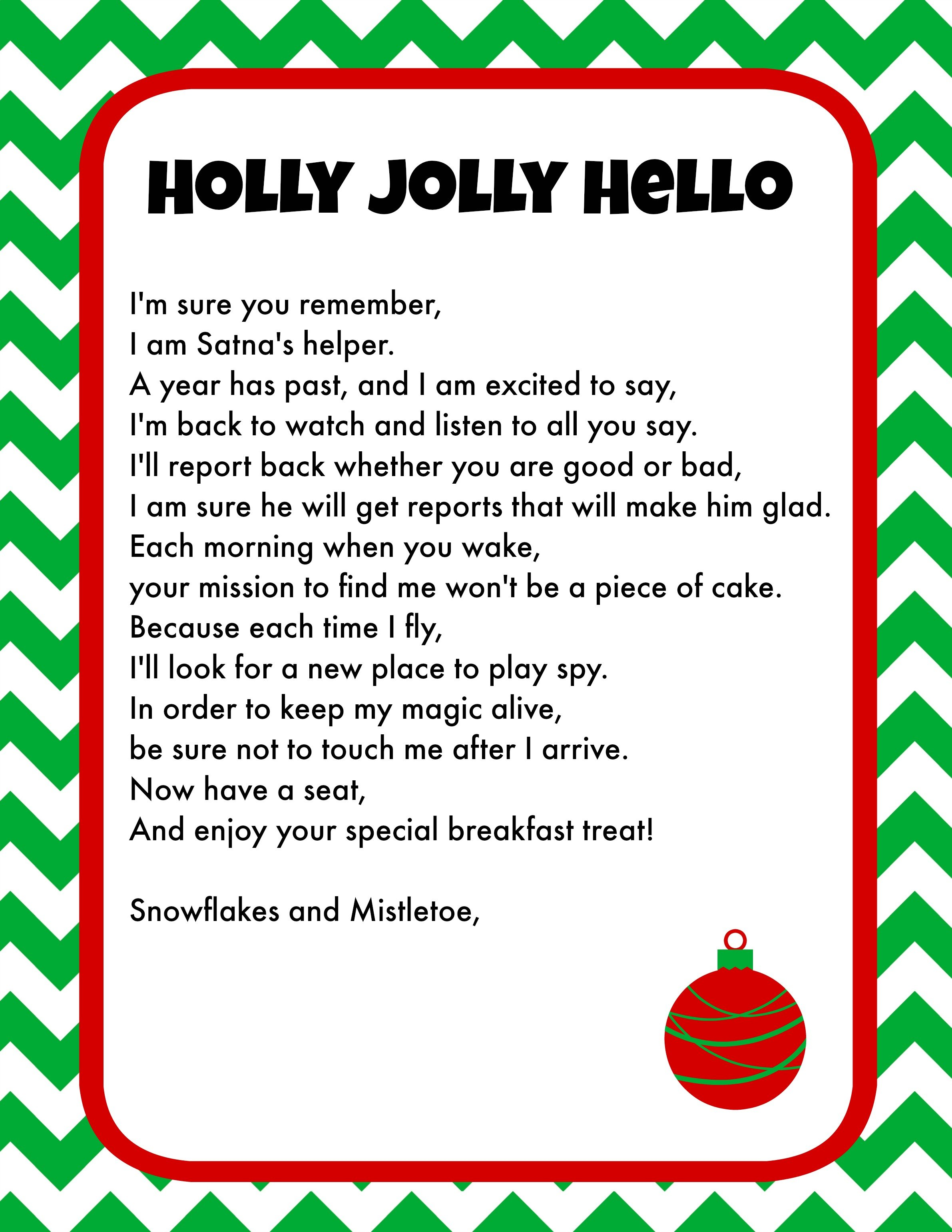 elf on the shelf letters printable on the shelf breakfast ideas printable letter 10180 | Elf on the Shelf Printable Letter