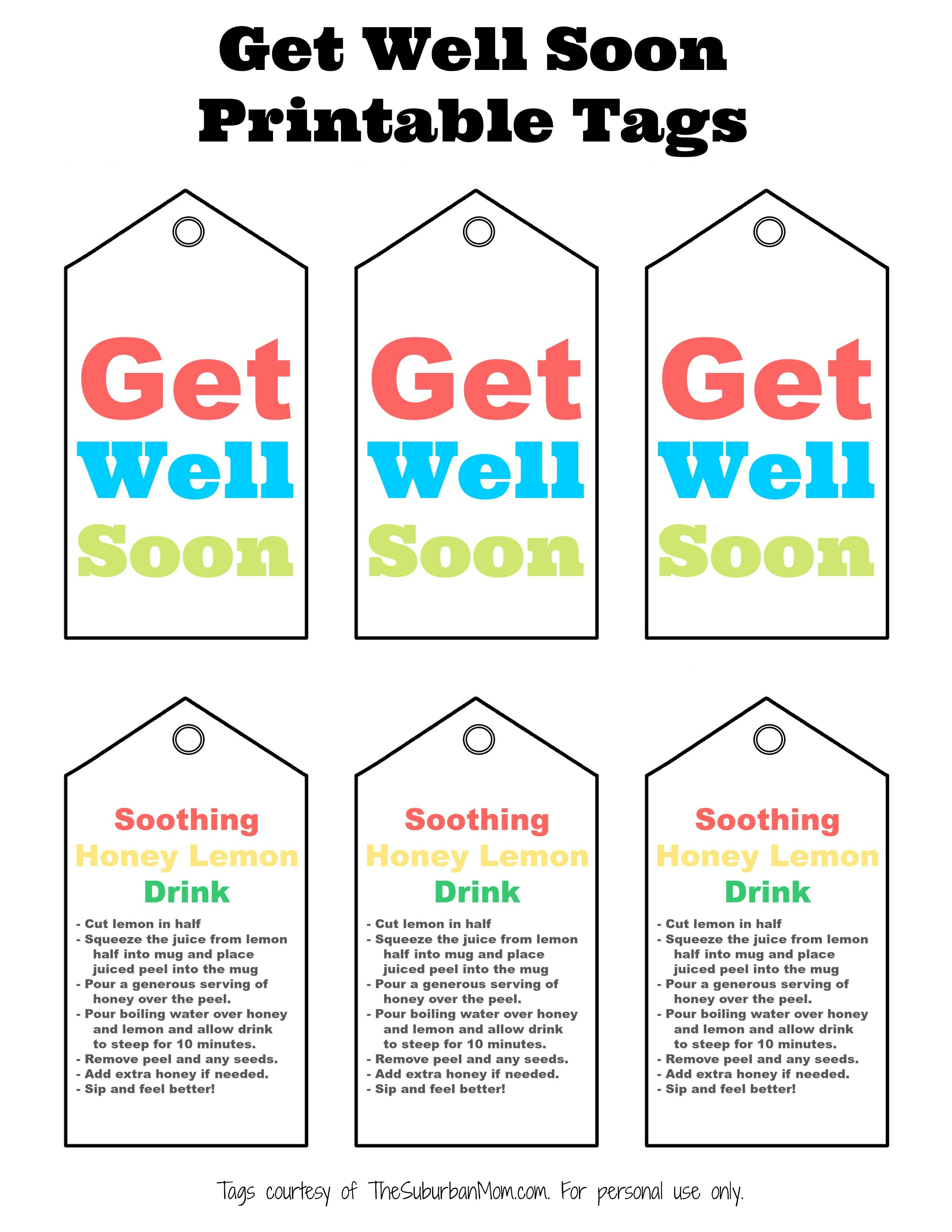 Get well soon gift basket with free printable tag download get well soon printable tag with soothing honey lemon drink recipe negle Gallery