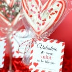 Valentine's Day Candy Cane Lollipop And Printable Tag