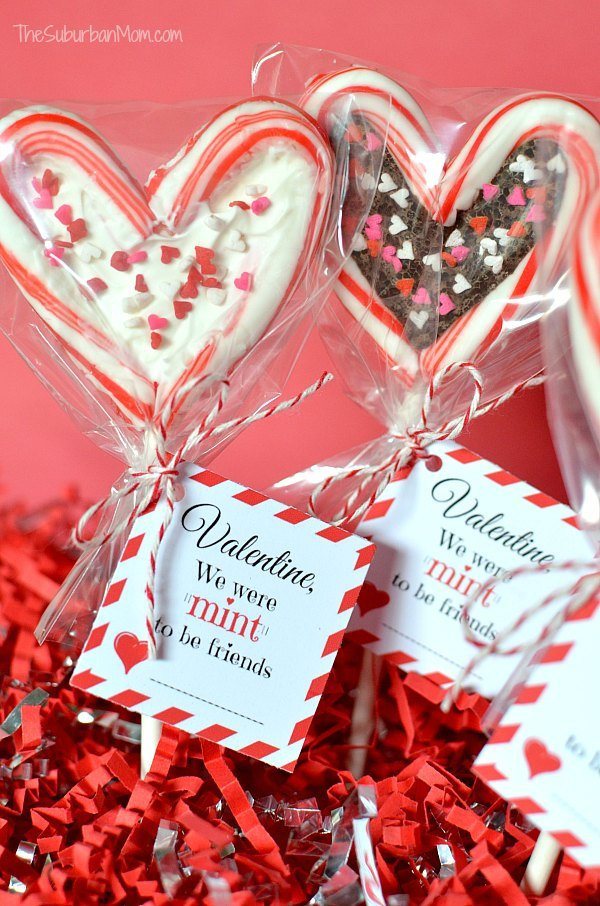 Valentine\'s Day Candy Cane Lollipop And Printable Tag