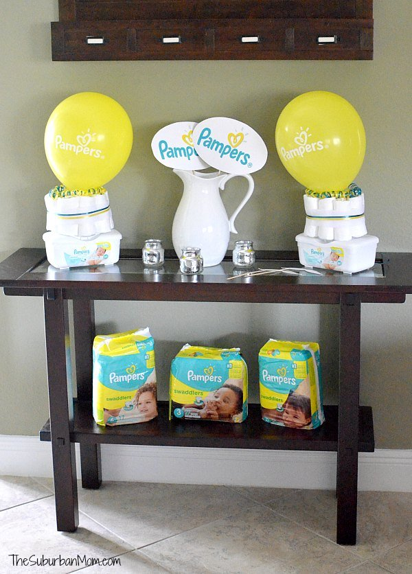 Celebrate baby 39 s firsts with a pampers baby shower for Baby shower decoration ideas with diapers