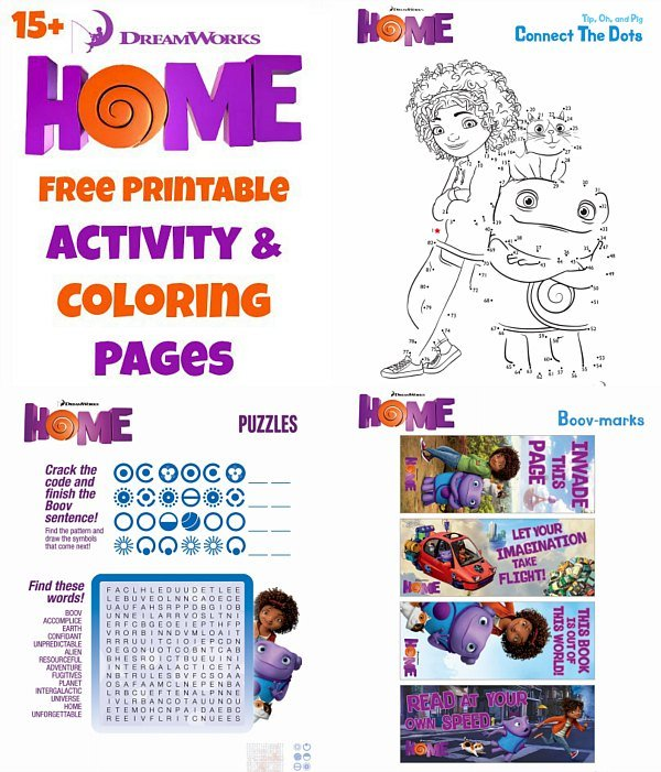 Dreamworks Home Activity Pages