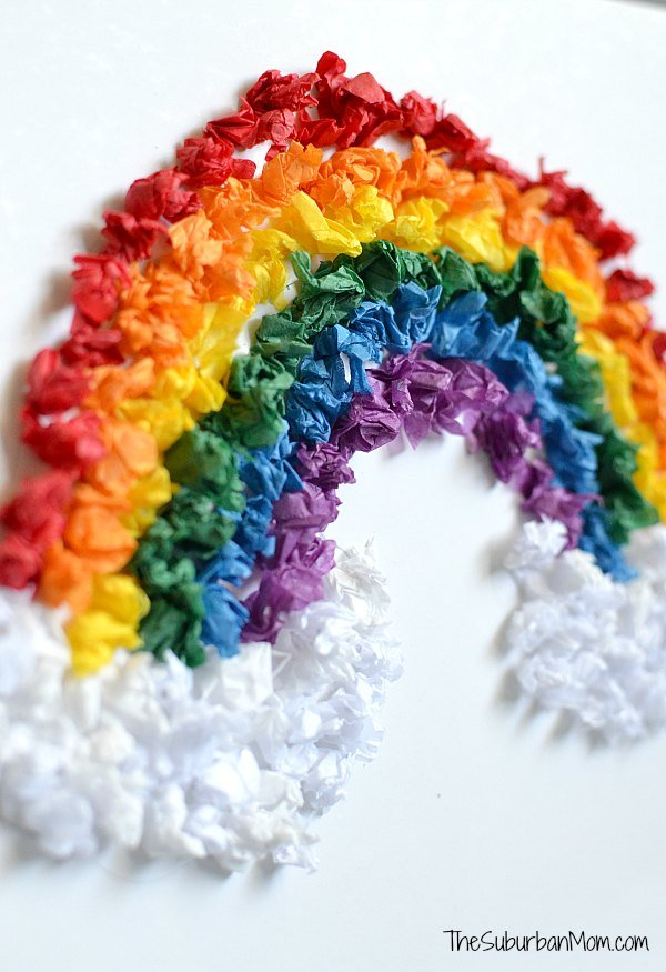 rainbow art and craft tissue paper rainbow craft for the suburban 5308