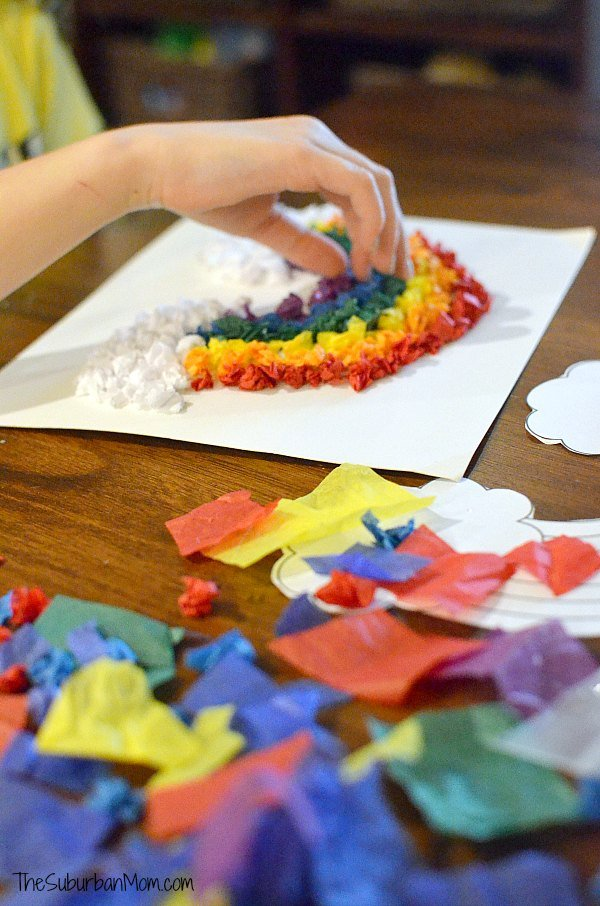 Tissue Paper Rainbow Craft For Kids The Suburban Mom