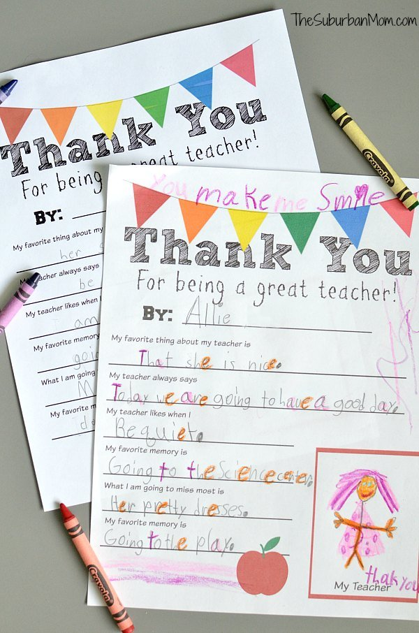 Fan image within thank you teacher printable