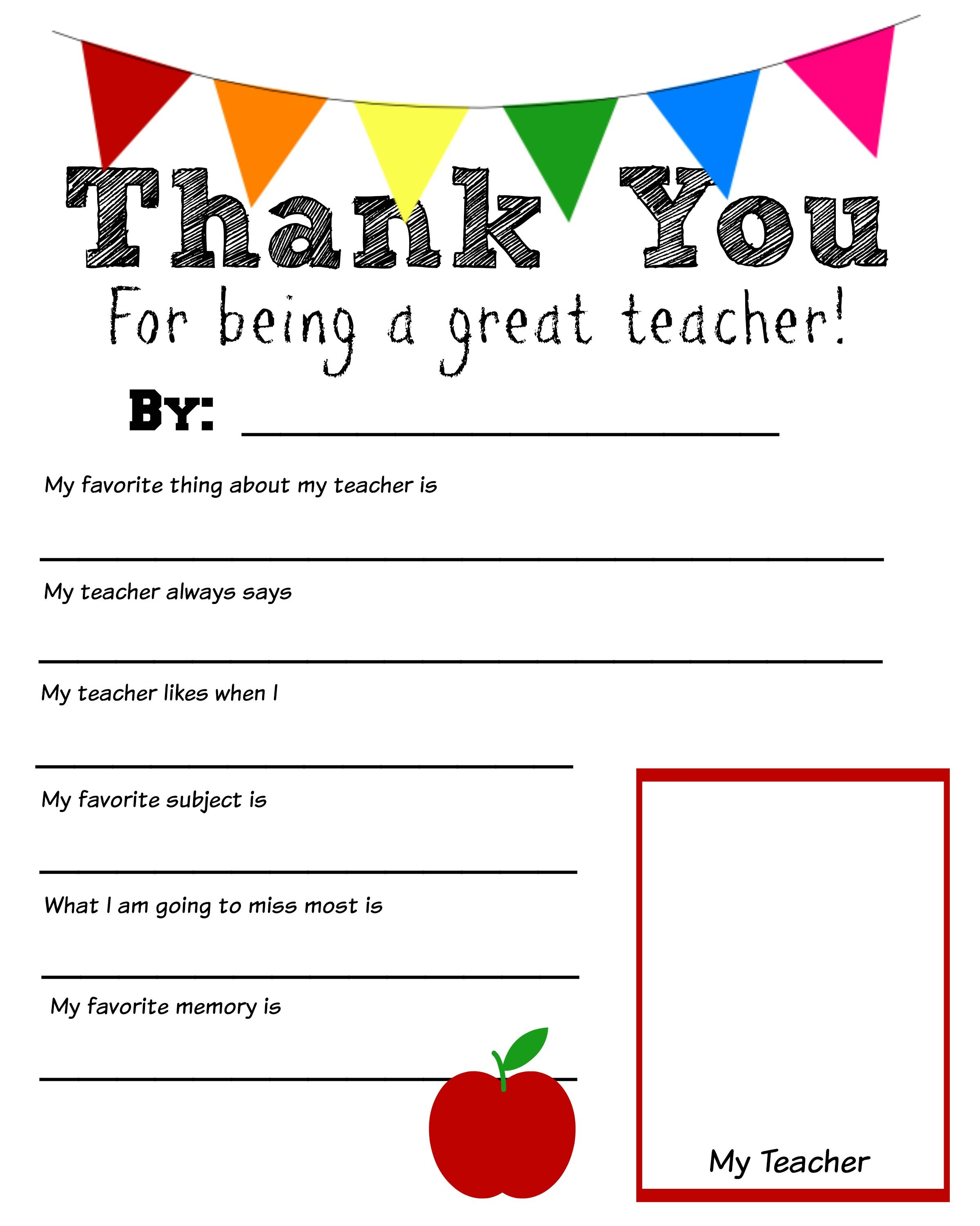 Thank You Teacher Free Printable – Teacher Worksheets for Kindergarten