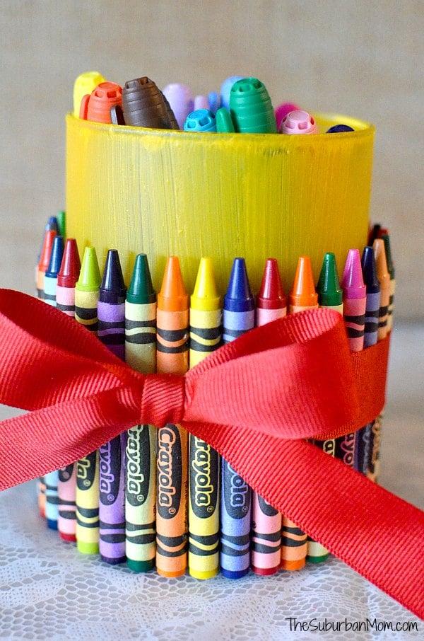 diy crayon vase teacher gift