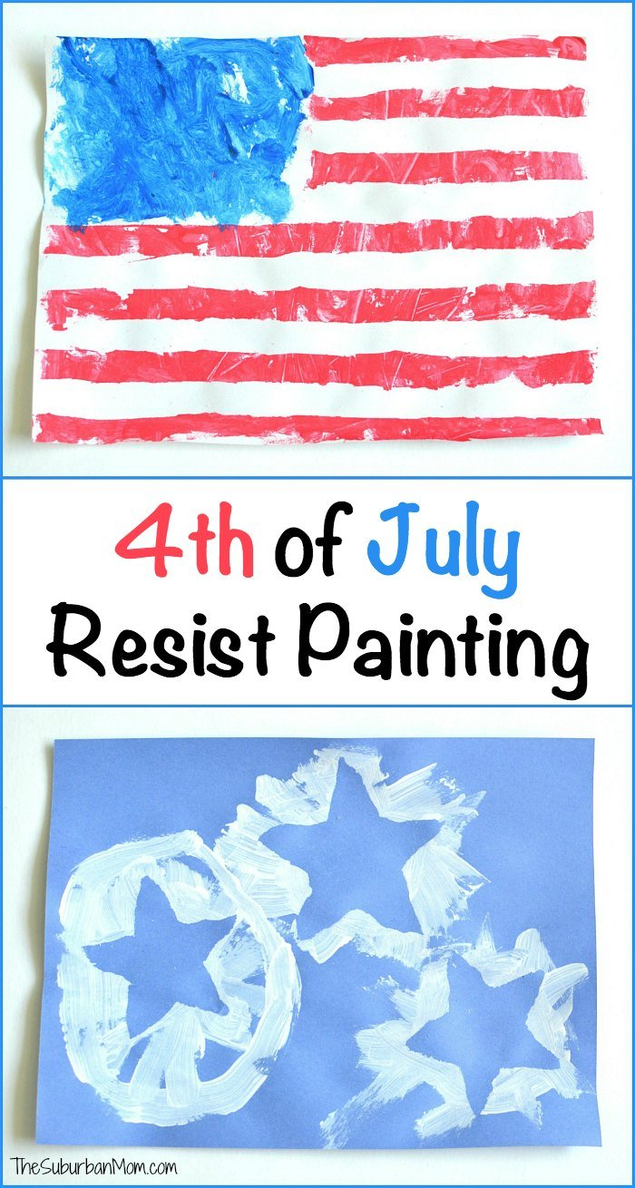 4th of july resist painting kids craft thesuburbanmom for Fast drying paint for crafts